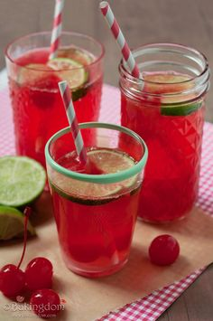 Cherry Limeade (1 cup lime juice  3/4 cup sugar  1 16-oz jar maraschino cherries and juice  1 2-liter lemon lime soda)
