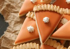 Mini Pumpkin Pie Slice Cookies @www.teeniecakes.com