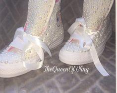 Baby Blue Crystalled Bridal Wedding Converse por RubyJackets