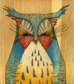 owl painting by Brett Superstar....would love this as a tattoo, beautiful