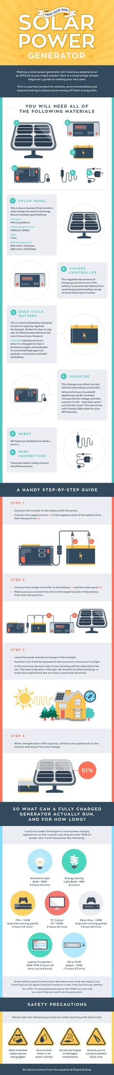 Make Your Own Solar Power Generator #infographic #Energy #SolarPower