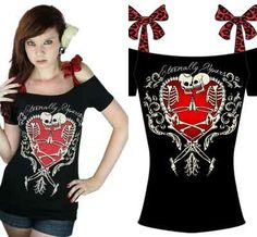 Too Fast Tattoo Eternal Gothic Punk Emo Rockabilly Pin Up Skeleton Skull Shirt | eBay