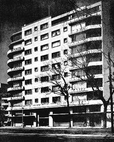 Edificio de apartamentos, av. de los Insurgentes Sur 465 esq. Chilpancingo, Hipódromo, Cuauhtémoc, México DF 1948 (destruido) Arq. Juan de Madariaga - Apartment building, Insurgentes Sur 465 at Chilpancingo, Hipodromo, Mexico City 1948 (destroyed)