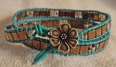 Double Wrap Greek Leather Bracelet with Dark Bronze by carricole, $30.00