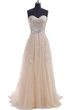Champagne Prom Dresses, Long Chiffon Prom Dresses, Sweetheart