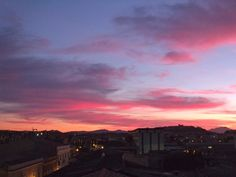 Cagliari sunset, Sardinia, Italy. View from my living room (no effects).