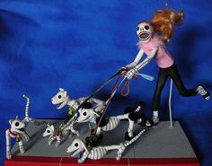 """Day of the Dead Sculpture The Dog Walker    Polymer clay sculpture. This piece is 7"""" tall."""