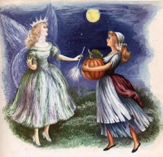 """Cinderella searched for the finest and largest pumpkin. Finally she picked one and took it back to the fairy godmother.""""This is the best one in the garden,"""" she said eagerly. The fairy godmother waved her wand over the pumpkin. Instantly it was changed into a splendid red coach with gold trimmings."""