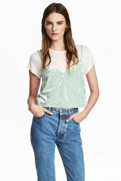 Crushed velvet strappy top - Mint green - Ladies | H&M GB 1