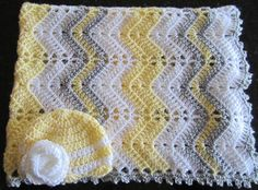 This baby girl gift set crochet baby blanket and hat gift set yellow gray and white crib blanket photo prop READY TO SHIP is just one of the custom handmade pieces you'll find in our baby blankets shops. Baby Afghan Crochet, Baby Afghans, Afghan Crochet Patterns, Baby Knitting Patterns, Baby Patterns, Crochet Ripple, Baby Girl Gift Sets, Chevron Baby Blankets, Mode Crochet