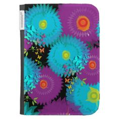 Summer Flowers and Butterflies Teal and Purple Mix Kindle Cover