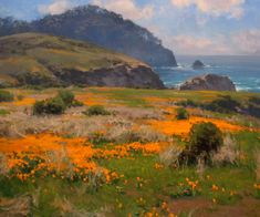 """Spring Bloom, Point Lobos"" by Jesse Powell 40 x 48 oil BoldBrush Painting Competition Winners Watercolor Landscape, Landscape Art, Landscape Paintings, Spring Landscape, Watercolor Sketch, Painting Competition, California Art, Traditional Paintings, Seascape Paintings"