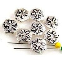 8 sand dollar 2 hole slider beads 10339