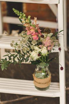 Jar Floral Hessian Jam Jar Flowers Foxglove Whimsical Romantic Barn Wedding http://kirstymackenziephotography.co.uk/