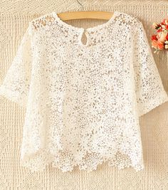 Beige Short Sleeve Crochet Lace Crop Top