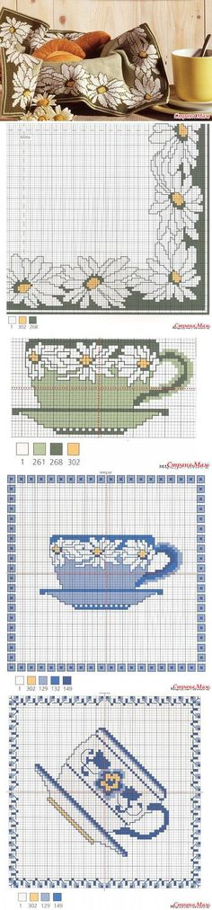 Two teacups.  Both have their graphs and colour charts.  Says to cross stitch which is easier and quicker than needlepoint.