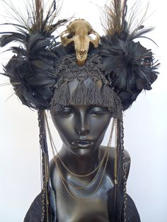 Items similar to SOLD Black Feather & Animal Skull Headress on Etsy Feather Headdress, Fantasy Costumes, Fairy Costumes, Head Accessories, Black Feathers, Animal Skulls, Tiaras And Crowns, Headgear, Belly Dance