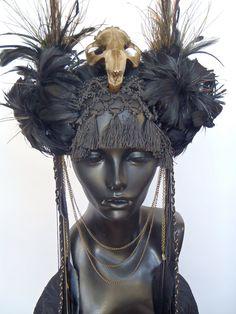 Items similar to SOLD Black Feather & Animal Skull Headress on Etsy Feather Headdress, Fantasy Costumes, Fairy Costumes, Head Accessories, Tribal Fusion, Black Feathers, Animal Skulls, Tiaras And Crowns, Headgear