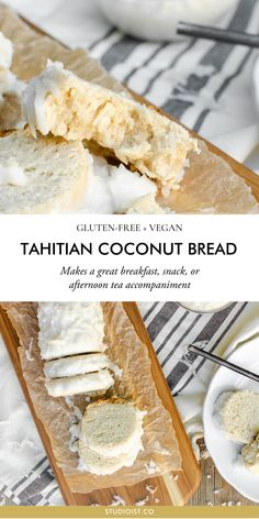 Gluten-Free, Vegan Tahitian Coconut Bread Tahitian Coconut Bread makes a great breakfast, snack, or afternoon tea accompaniment. It's decently dense, moist and rich with coconut. Patisserie Sans Gluten, Dessert Sans Gluten, Gluten Free Desserts, Gluten Free Recipes, Healthy Recipes, Vegetarian Recipes, Gluten Free Baking, Vegan Gluten Free, Gluten Free Beer