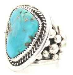 Large Ornate Men's Turquoise Ring Size 14 | Anglo Silversmith Kay Johnson | Four Corners USA OnLine