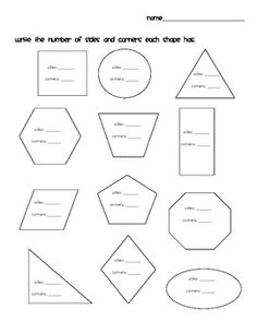 first grade worksheet - the number of sides and corners on the shapes