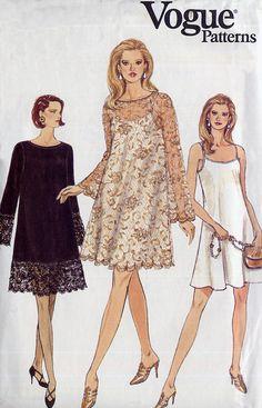 Easy A-Line Slip Dress Pattern - Vogue 9153 - Lace Overdress - Size 12-14-16 - Uncut