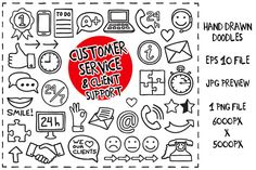 Customer Service Doodles set by PaketeCat on @creativemarket