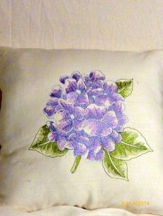 Embroidered pillow  Linen pillow lavender by JulieButlerCreations, $28.50