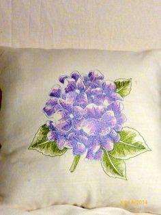 Embroidered pillow  Linen pillow lavender by JulieButlerCreations, $28.50