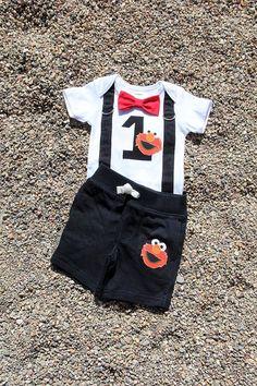 ELMO Baby Boy Bow Tie Bodysuit with Suspenders and shorts set - Birthday, Photo Prop, Elmo, Sesame Elmo First Birthday, 1st Birthday Outfit Boy, King Birthday, Boy Birthday Parties, Birthday Boys, Birthday Ideas, Baby Boy Bow Tie, Boys Bow Ties, Baby Elmo