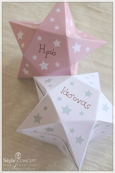 3D star shaped favor boxes. Ideal for a baptism or kids party. Why not hang them after the event to decorate the kid's room?