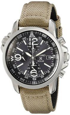 5dfa1384da32 Seiko Prospex Smoke Dial SS Tan Textile Chronograph Quartz Men s Watch  SSC293 Seiko Watches
