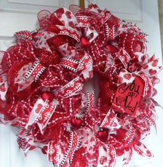 Valentine WreathRed Valentine  Deco Mesh  You are by LisasLaurels