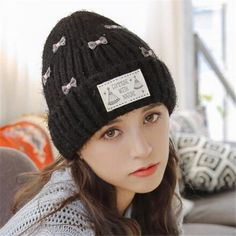 Sweet bow knitted beanie hat for teenage girls winter wooly hats 98ec9779f1ad