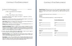 Free Online Contracts Templates Sample Contract Of Employment Free To Print  Employement Contracts .