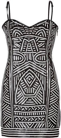 €2,511, Robe fourreau en cuir géométrique blanche et noire Emilio Pucci. De STYLEBOP.com. Cliquez ici pour plus d'informations: https://lookastic.com/women/shop_items/132951/redirect