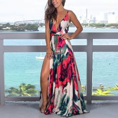 New Women Floral Maxi Dress Fashion Ladies Sleeveless V Neck Prom Evening Party Summer Beach Casual Long Sundress, Red / XL Vestido Maxi Floral, Vestido Casual, Floral Print Maxi Dress, Coral Dress, Floral Tie, Cute Dresses, Casual Dresses, Fashion Dresses, Maxi Dresses