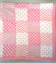 Pink and White  Baby Quilt/Handmade Baby Quilt/Pink Chevrons-Polka Dots-Checks-Floral Quilt/Pink Minky Quilt/Baby Girl Handmade Quilt by OccasionalGoods on Etsy