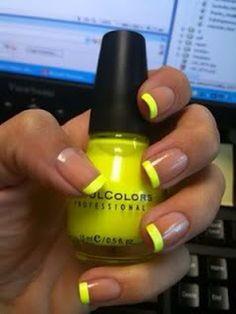 nail art - yellow tipped french manicure. Summer fun with nails. How To Do Nails, Fun Nails, Nice Nails, Simple Nails, Nail Deco, Chloe Nails, Nail Polish, Mellow Yellow, Neon Yellow