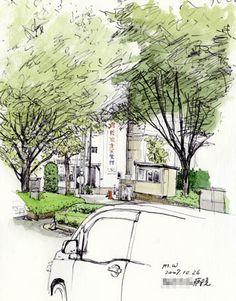 O病院の正門、ボールペンの風景スケッチ