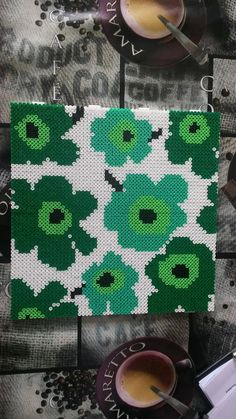 Hama Hama Beads Design, Hama Beads Patterns, Beading Patterns, Floral Patterns, Textile Patterns, Hama Beads Coasters, 8bit Art, Fusion Beads, Iron Beads