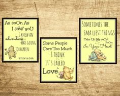 3 8X10 digital Vintage Winnie The Pooh prints. Inspirational Quotes, Nursery/childs/kids room decor pictures/frame/art