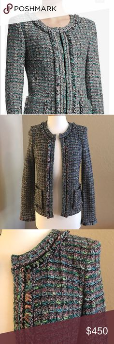 """St Johns Jacket Beautiful and Classic must have essential! Like new! """"St. John's"""" Collection Donegal Plaid Tweed Knit Jacket With Patch  Pockets And Fringe. Made in the USA! Gorgeous colors go well with everything! Slacks, dresses, and even jeans.   Nonsmoking ***   High end item from Saks Fifth Avenue.   More photos upon request. St. John Jackets & Coats"""