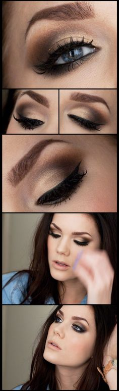 Smoky eye makeup for brunette with pale skin and blue eyes