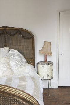 Gilded cane bed w/gesso swags xo--FleaingFrance. Love the drum side table! Drum Side Table, Side Tables, Sweet Home, Bedroom Night Stands, Decoration, Beautiful Homes, House Beautiful, Shabby Chic, House Design