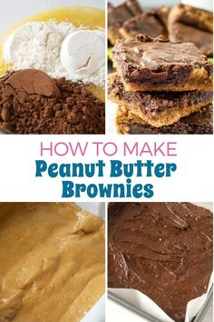 Homemade desserts are the best! These tasty chocolate peanut butter brownies are made from scratch.  This easy recipe uses cocoa powder for a rich chocolate base and is layered with a decadent peanut butter swirl. Homemade Peanut Butter Cups, Peanut Butter Candy, Peanut Butter Desserts, Chocolate Peanut Butter Brownies, Chocolate Snacks, Vegetarian Chocolate, Easy Baking Recipes, Snack Recipes, Dessert Recipes