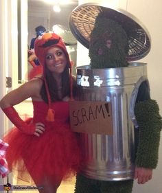 Ashley: Ashley is Elmo and Scott is Oscar. I made both the costumes. The tutu is made from tulle and ribbon and Oscar's fur is bathroom mats from Burlington Coat factory....