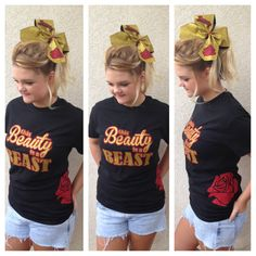Thie Beauty is a Beast Tshirt and Cheer BOW set by KallysBOWtique