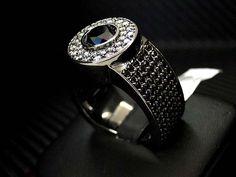 10K Black gold Men's  black Diamond Ring