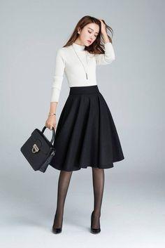 b444a6886c9c51 Wool circle skirt, black skirt, winter skirt, skater skirt, knee length  skirt, woman skirt, pleated skirt, classic skirt, made to order 1633